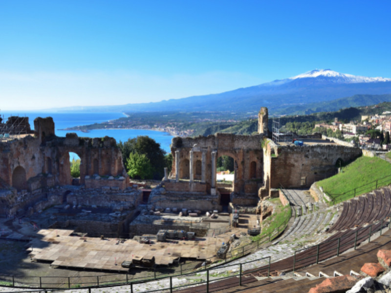 Theatre of Taormina with Etna on background