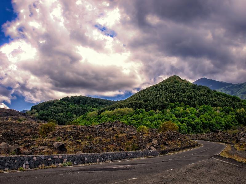 Road of Etna volcano