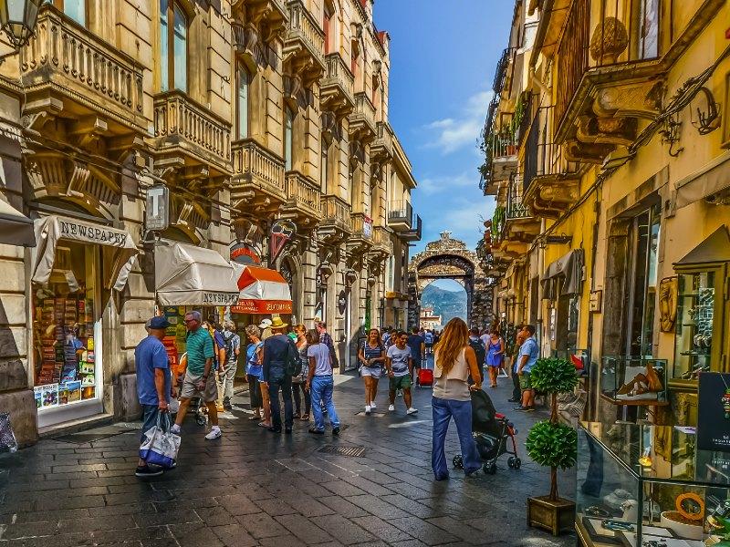 Walking street of Taormina Sicily