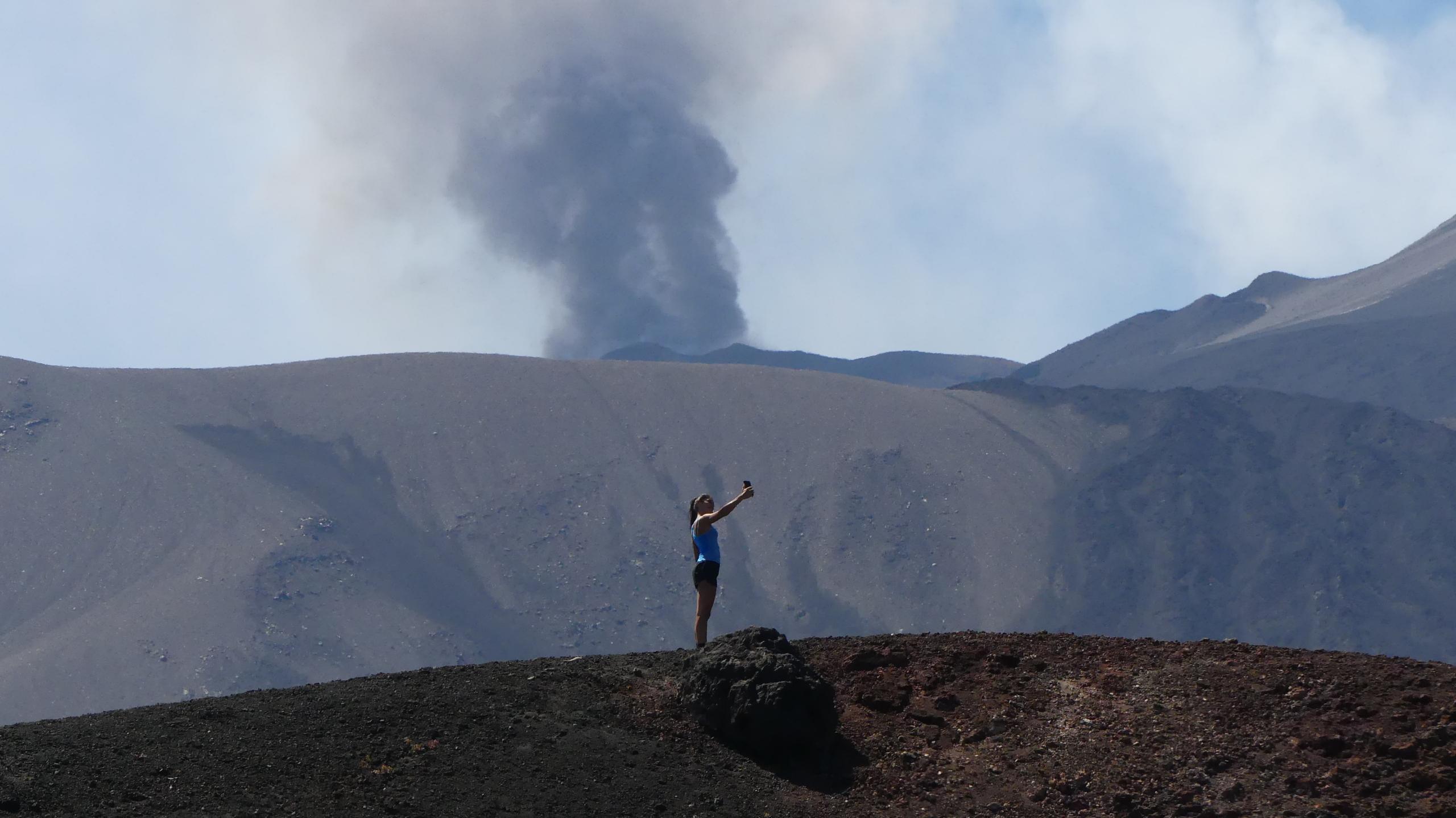 Tourist of Etna taking a selfie