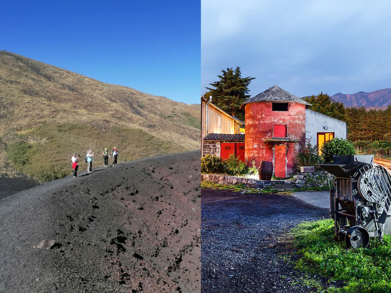 Tourist on etna and winery landscape